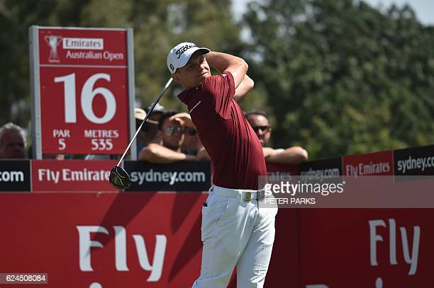 Australian golfer Cameron Smith tees off on the sixteenth hole at the Australian Open golf tournament at the Royal Sydney Golf Club in Sydney on...