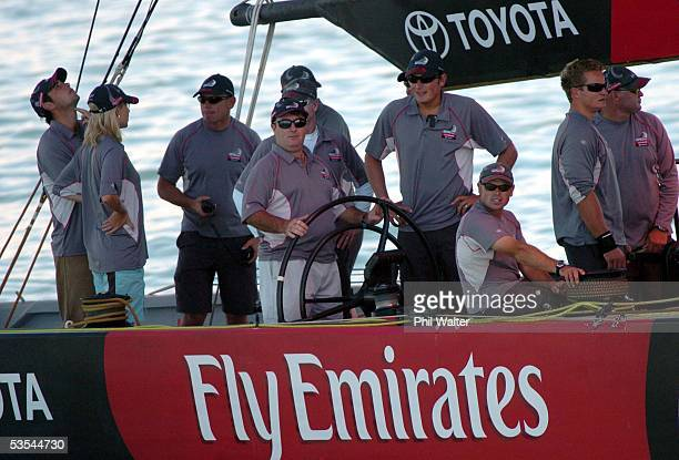Australian golfer Craig Parry winner of last weeks Heineken Golf Open in Melbourne at the helm of Emirates Team New Zealand's America's Cup yacht...