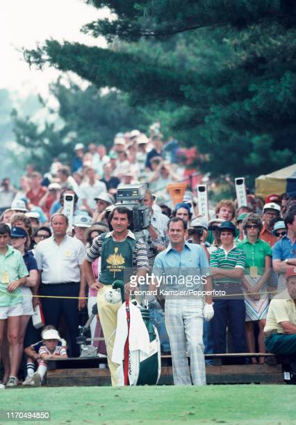 Australian golfer David Graham with his caddy enroute to winning the US Open Golf Championship held on the East Course of Merion Golf Club in...