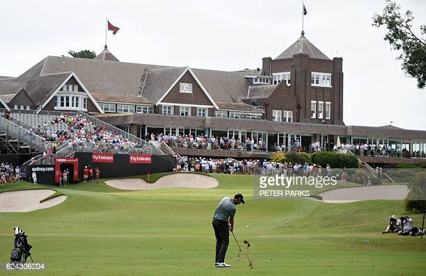 Australian golfer Geoff Ogilvy hits his ball to the 18th hole on day three of the Australian Open golf tournament at the Royal Sydney Golf Club in...