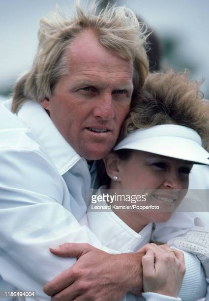 Australian golfer Greg Norman with his wife Laura Andrassy circa 1987