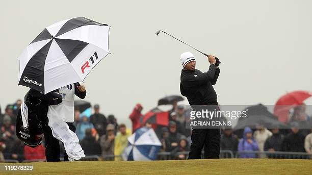 Australian golfer Jason Day tees off from the 2nd tee on the third day of the 140th British Open Golf championship at Royal St George's in Sandwich...