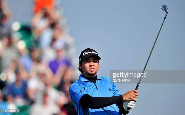 Australian golfer Jason Day watches his drive from the 3rd Tee on the second day of the 140th British Open Golf championship at Royal St George's in...