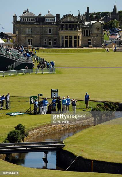 Australian golfer Mathew Goggin plays a shot from the 2nd tee with the clubhouse behind during a practice round at St Andrews in Scotland on July 13...