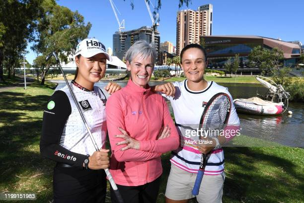 Australian golfer Minjee Lee Judy Murray mother of Andy Murray and World womens number one tennis player Ash Barty of Australia pose on Pinky Flat on...