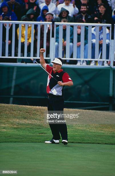 Australian golfer Peter O'Malley wins the Bell's Scottish Open at Gleneagles, 11th July 1992. Here he celebrates an eagle on the 18th.
