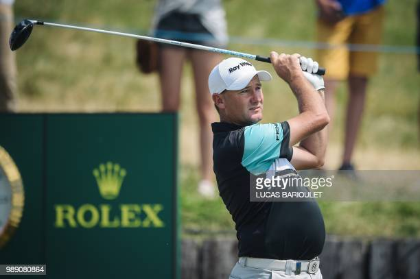 Australian golfer Sam Brazel competes during the HNA Open de France as part of the European Tour 2018 at the SaintQuentinenYvelines national golf...