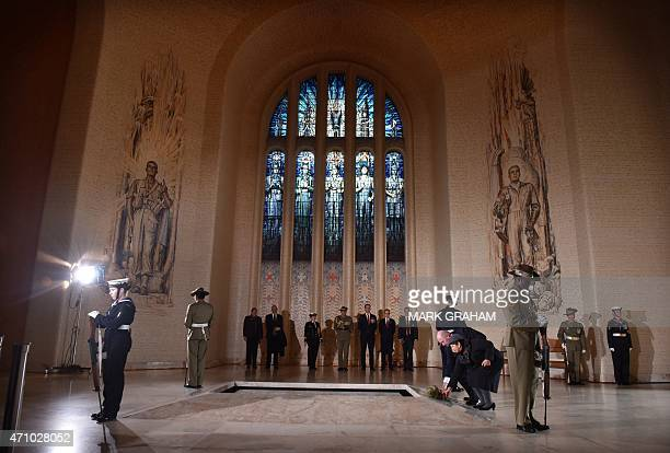 Australian Governor General Peter Cosgrove and Lynn Cosgrove lay a wreath at the tomb of the unknown soldier after the national service commemorating...