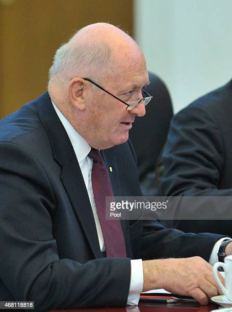 Australian Governor General Peter Cosgrove arrives at a meeting with Chinese Premier Li Keqiang at the Great Hall of the People on March 30 2015 in...
