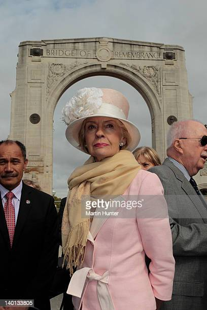 Australian GovernorGeneral Quentin Bryce at the Bridge of Remebrance during a wreathlaying Ceremony on February 29 2012 in Auckland New Zealand Ms...