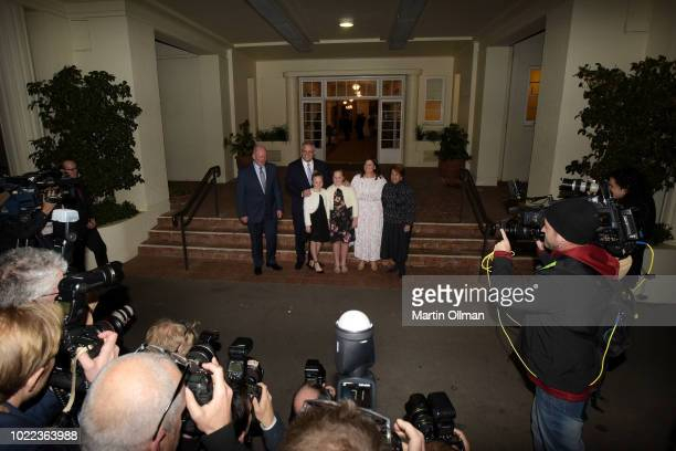 Australian GovernorGeneral Sir Peter Cosgrove poses with Australian Prime Minister Scott Morrison his wife Jenny Morrison and daughters and Lynne...