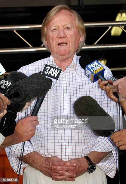 Australian Grand Prix Corporation chairman Ron Walker speaks to the media as he announces a later start time for the seasonopening Formula One race...