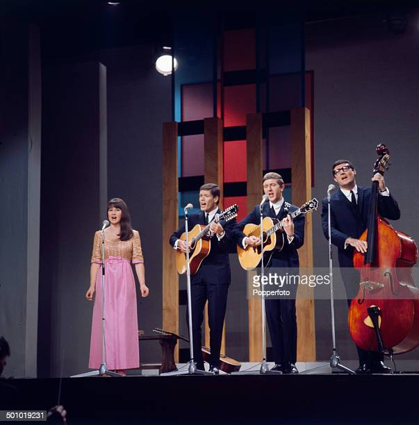 Australian group The Seekers perform on The Palladium Show in London in 1966. Left to right: Judith Durham, Keith Potger, Bruce Woodley and Athol Guy.