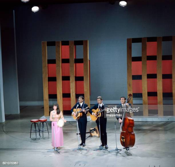 Australian group The Seekers perform on The Palladium Show in London in 1966. Left to right: Judith Durham, Keith Potger, Bruce Woodley and Athol Guy