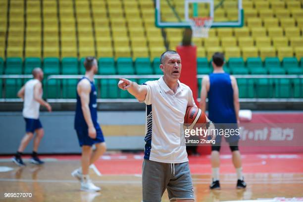 Australian head coach Andrej Marcus Lemanis addresses his players during the Australian NBL team training before in the 2018 SinoAustralian Men's...