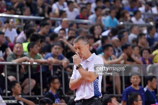 Australian head coach Andrej Marcus Lemanis looks on during the 2018 SinoAustralian Men's Internationl Basketball Challenge match between the Chinese...