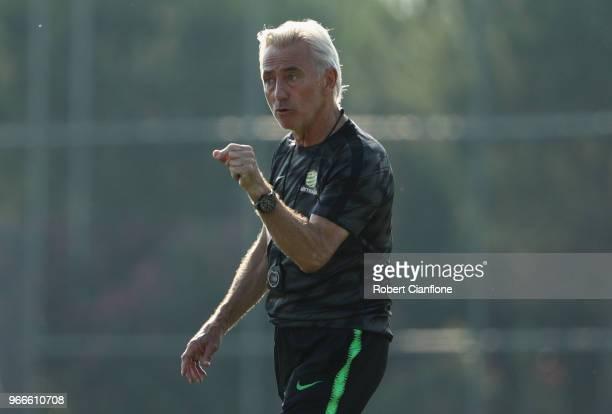 Australian head coach Bert van Marwijk gestures during the Australian Socceroos Training Session at the Gloria Football Club on June 3 2018 in...
