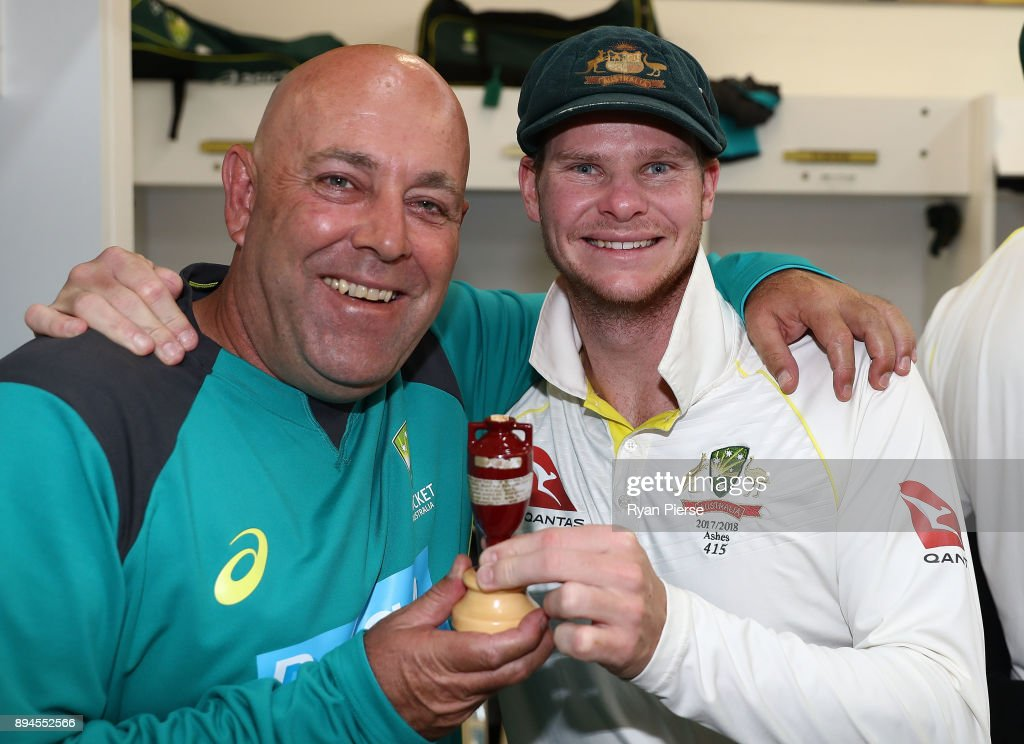 Australian Head Coach Darren Lehmann and Steve Smith of Australia celebrate in the changerooms after Australia regained the Ashes during day five of the Third Test match during the 2017/18 Ashes Series between Australia and England at WACA on December 18, 2017 in Perth, Australia.