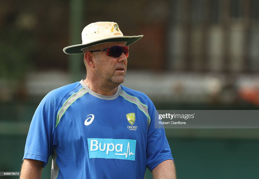 Australian Head Coach Darren Lehmann looks on during an Australian Test team nets session at Sher-E Bangla National Cricket Stadium on August 22, 2017 in Dhaka, Bangladesh.