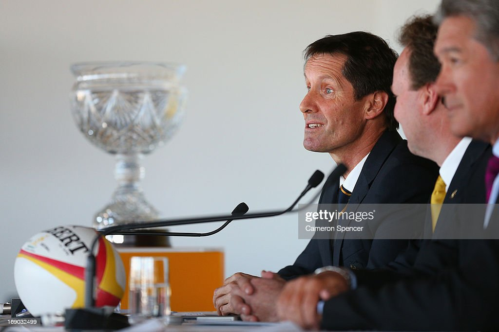 Australian head coach Robbie Deans talks during an Australian Wallabies ARU press conference at Museum of Contemporary Art on May 19, 2013 in Sydney, Australia.