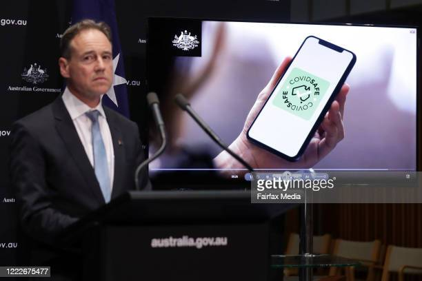 Australian Health Minister Greg Hunt launches the COVIDSafe mobile app that records people's movements as a means of tracing those who have come into...