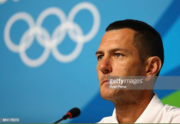 Australian Hockey player Jamie Dwyer speaks to the media during an Australian Olympic Team Press Conference on July 28, 2016 in Rio de Janeiro,...