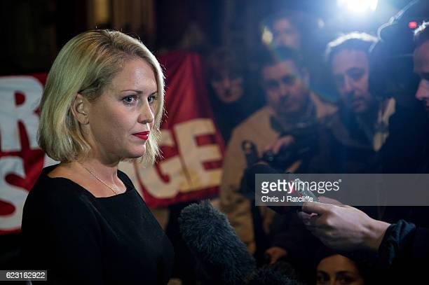 Australian human rights lawyer Jennifer Robinson speaks to the press after Swedish chief prosecutor Ingrid Isgren leaves the Embassy of Ecuador after...