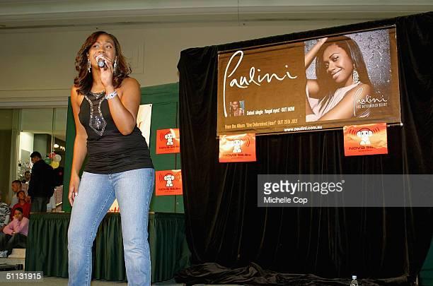 Australian Idol finalist Paulini promotes her new album One Determined Heart at Westfield Mt. Druitt, on July 31, 2004 in Sydney, Australia.