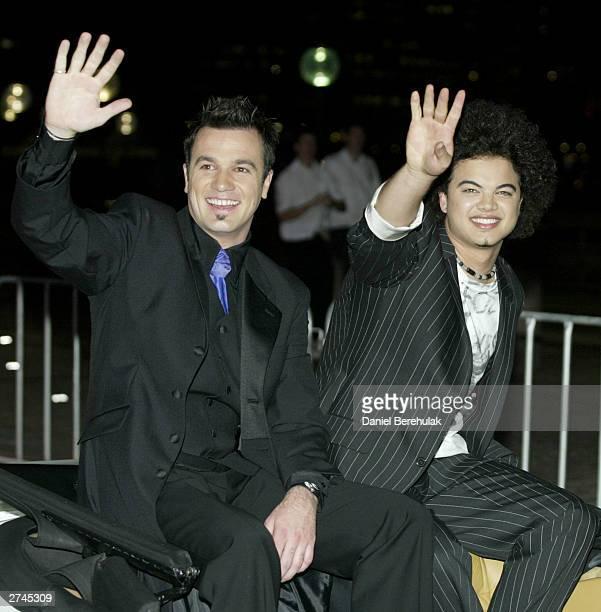Australian Idol finalists Guy Sebastian and Shannon Noll arrive for the Australian Idol Final Performance held on November 19 2003 at the Sydney...