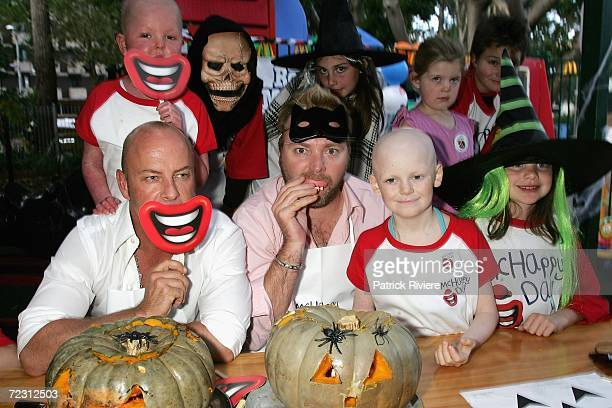 Australian Idol judge and breakfast DJ Kyle Sandilands and fashion designer Peter Morrissey celebrate Halloween with seriously ill kids by carving...
