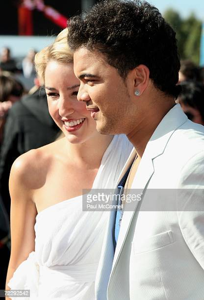 Australian Idol winner Guy Sebastian and Jules Egan arrive at the ARIA Awards 2006 at the Acer Arena on October 29 2006 in Sydney Australia The ARIA...