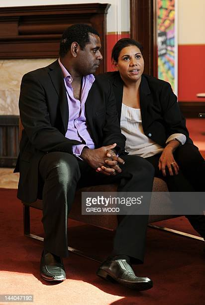 Australian indigenous actors Deborah Mailman and Jimi Bani are interviewed following the Sydney Film Festival Program launch in Sydney on May 9 2012...