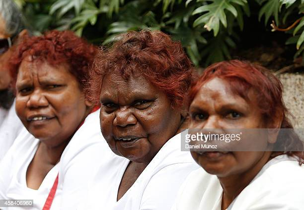 Australian Indigenous people wait for the state memorial service for former Australian Prime Minister Gough Whitlam at Sydney Town Hall on November 5...