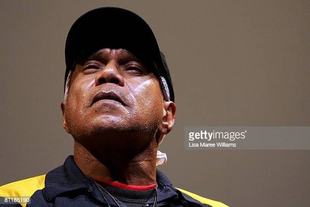 Australian Indigenous singer Archie Roach speaks during a preview of the new documentary film 'Liyarn Ngarn' at the Sydney Writers Festival on May 21...