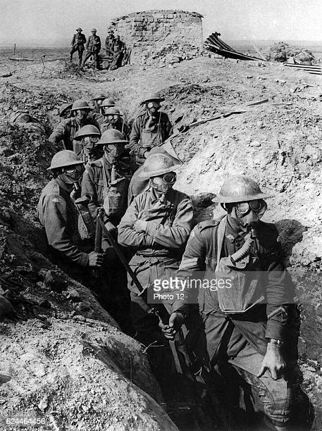 Australian infantry, small box respirators at The First World war Battle of Ypres.