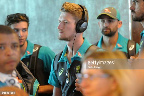 Australian international cricketer Cameron Bancroft is seen as the Australian Cricket team arrive at Cape Town International Airport on March 27 2018...