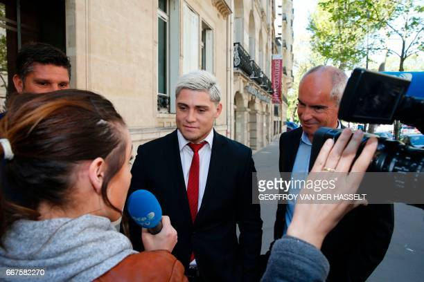 Australian international James O'Connor speaks to a journalist as he leaves after appearing before the French National Rugby League disciplinary...