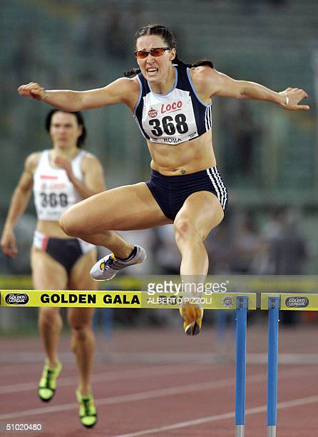 Australian Jana Pittman vies in the women's 400 meter hurdles in the Golden Gala of Athletics in Rome Olympic Stadium 02 July 2004