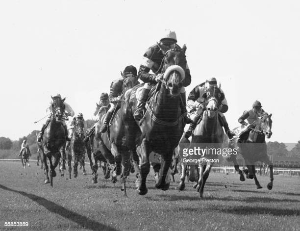 Australian jockey Scobie Breasley on Malberry, G Lewis on Menai, W Elliot on New Ferry at the Windsor Races, 21st September 1964.