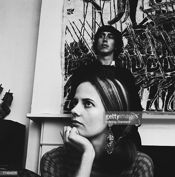 Australian journalist Richard Neville, the central editor of Oz magazine, with his girlfriend Louise Ferrier in London, September 1966. Neville is in...