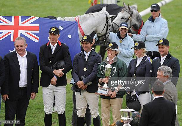 Australian Jumping team after winning the 2nd Trans-Tasman test at Hawke's Bay Showgrounds on March 16, 2012 in Hastings, New Zealand.