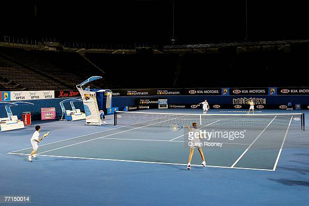 Australian junior tennis players have a hit on the new look centre court at Rod Laver Arena during the Australian Open 2008 Launch on October 2 2007...