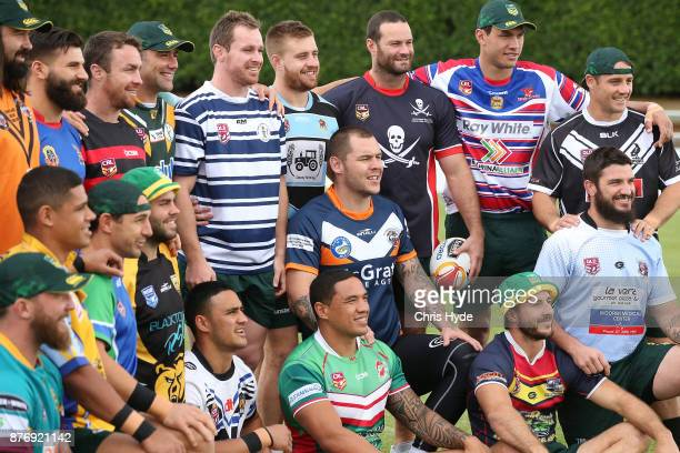 Australian Kangaroos players pose for a photograph during a Rugby League World Cup training session at Langlands Park on November 21 2017 in Brisbane...