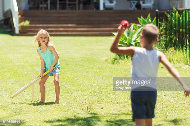australian kids playing cricket - sport of cricket stock pictures, royalty-free photos & images