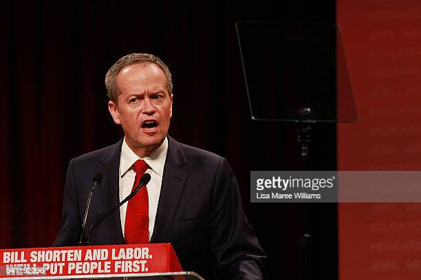 Australian Labor Leader Bill Shorten speaks during the Australian Labor Party 2016 Federal Campaign Launch at the Joan Sutherland Performing Arts...