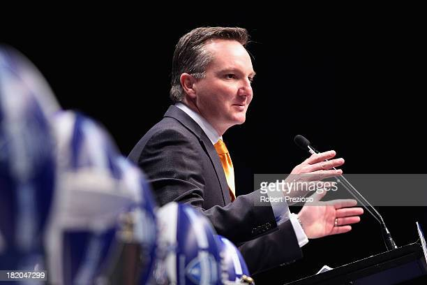 Australian Labor Party Chris Bowen speaks during the 2013 Blackwoods North Melbourne Grand Final Breakfast at Etihad Stadium on September 28 2013 in...