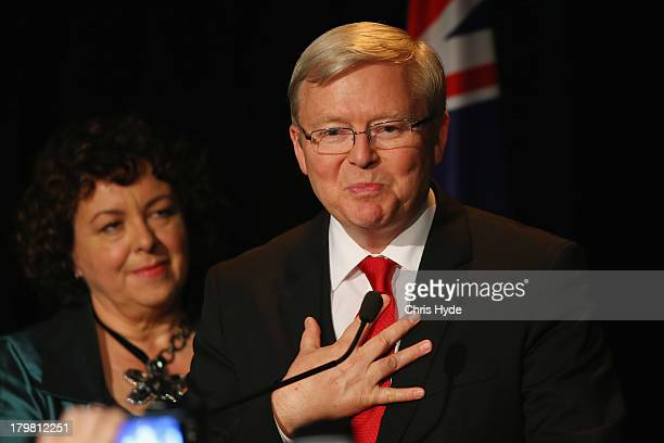 Australian Labor Party Leader, Kevin Rudd speaks to supporters on stage as he concedes defeat in the 2013 Australian election, at The Gabba on...