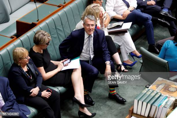 Australian Labor Party member Shadow Attorney General Mark Dreyfus is seen in the House of Representatives wearing rainbow socks in support of same...