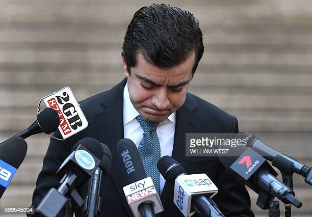 Australian Labor Party's Senator Sam Dastyari fronts the media in Sydney on September 6 to make a public apology after asking a company with links to...