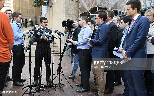 Australian Labor Party's Senator Sam Dastyari speaks to the media in Sydney on September 6 to make a public apology after asking a company with links...